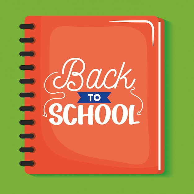 Notebook school with back to school message Free Vector
