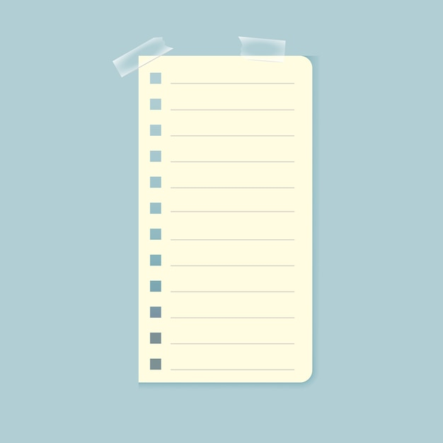 Notebook sheet attached with sticky tape Free Vector