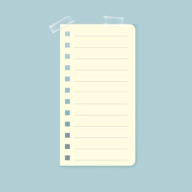 Foglio di quaderno attaccato con nastro adesivo Vettore gratuito