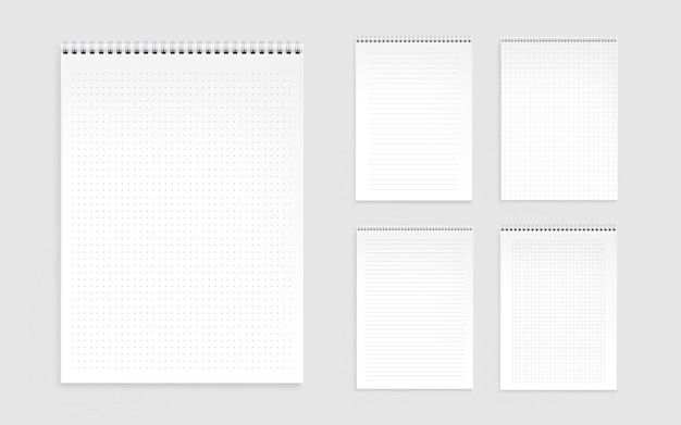 Notebook sheets, blank pages with lines, dots and checks Free Vector