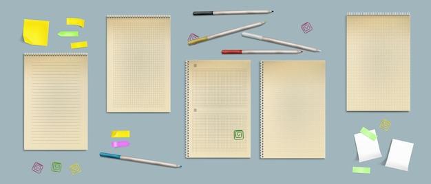 크래프트 종이의 노트북 시트, 선, 점 또는 스티커 메모가있는 수표가있는 빈 페이지, 무료 벡터
