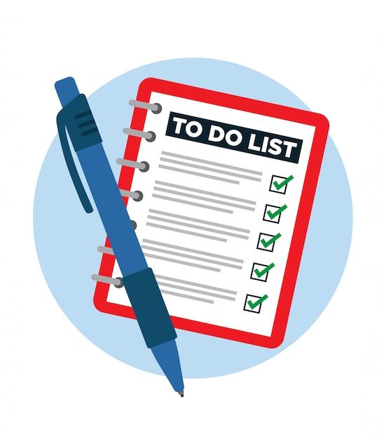 Блокнот с готовым списком дел и ручкой. Premium векторы