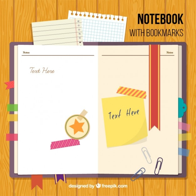 Notebook with bookmarks and accessories Free Vector