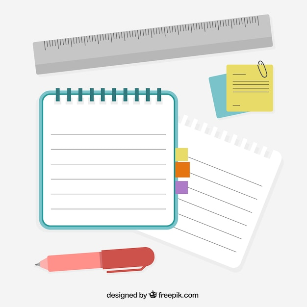 Notebook with pen and ruler Free Vector