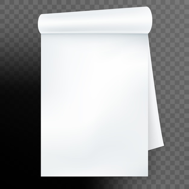 Notebook with rolled page  on transparent background. and also includes Premium Vector