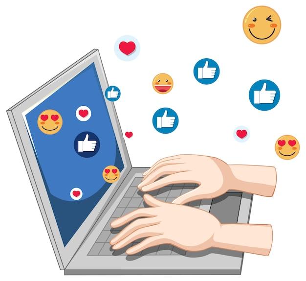 Notebook con tema icona social media e mani isolate su priorità bassa bianca Vettore gratuito