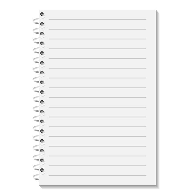 Notebook with a spiral on a white background Premium Vector