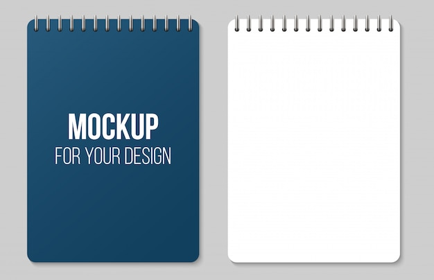 Notebooks lined and dots paper page blank mockup. Premium Vector