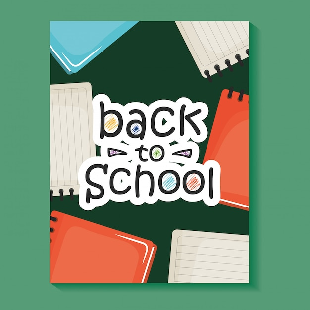 Notebooks school supplies with textbooks Free Vector