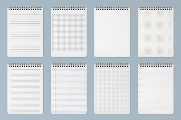 노트북 시트. 줄 지어, 체크 무늬 및 도트 페이지 무료 벡터