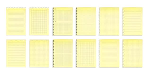 Quaderni con carta gialla a righe, punti e griglie quadrate Vettore gratuito