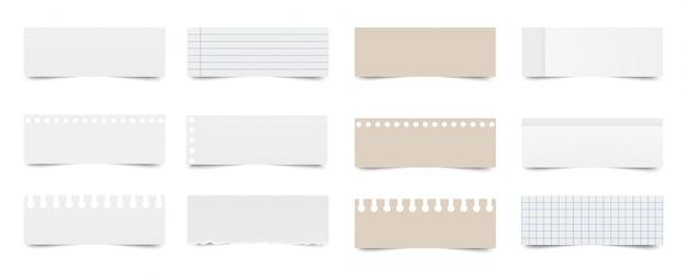 Блокнот. лист из тетради. бумаги для заметок Premium векторы