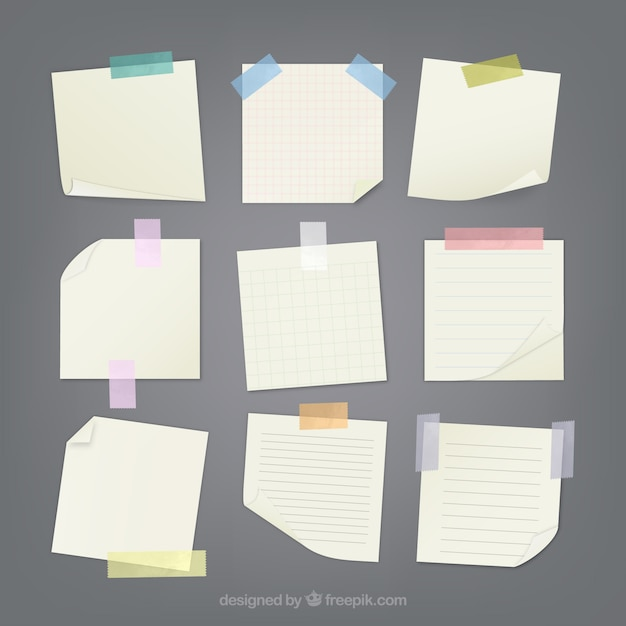 Notes attached with sticky tape Free Vector