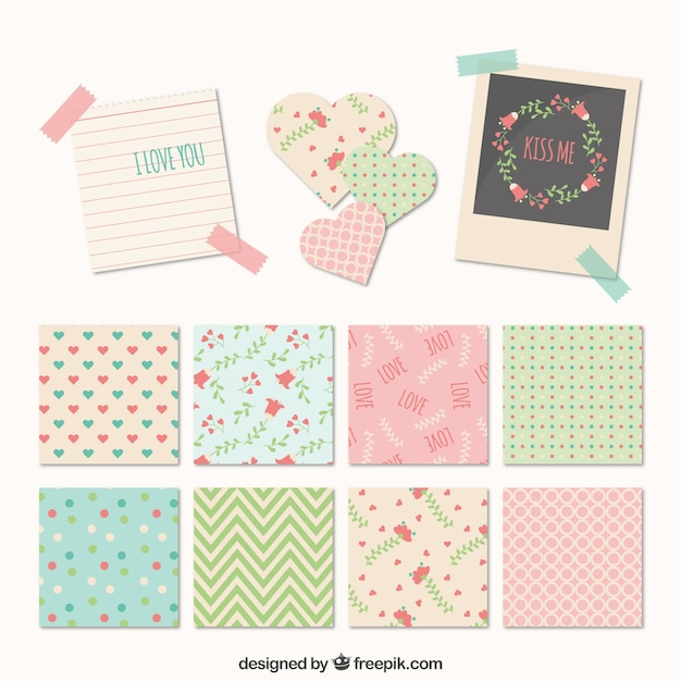Notes with cute patterns Free Vector