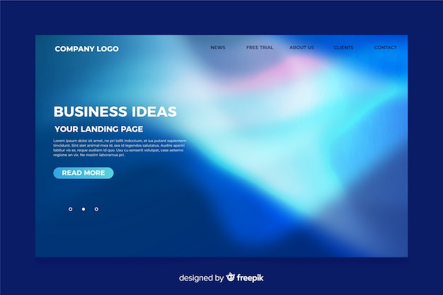 Nothern lights landing page template Free Vector
