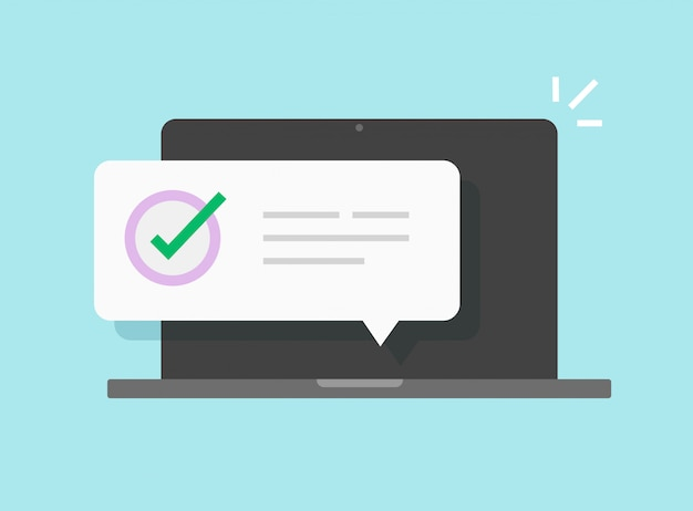 コンピューターのラップトップ上の通知メッセージ Premiumベクター