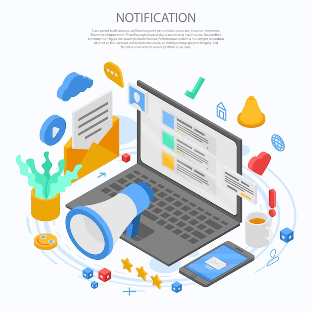 Notification message concept banner, isometric style Premium Vector