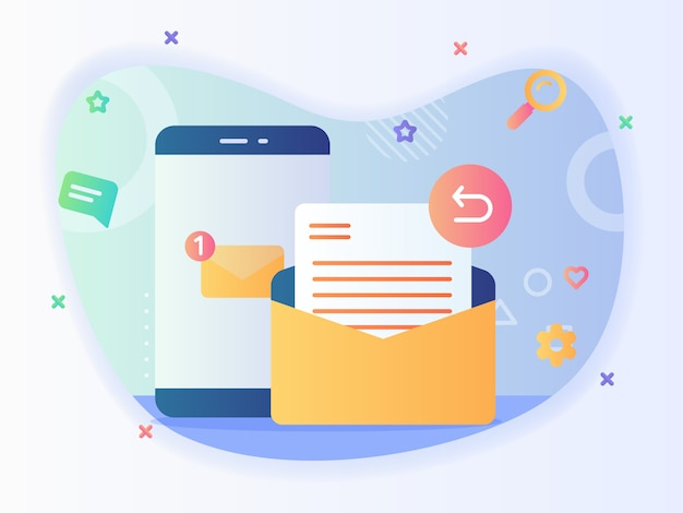 Notification new message on smartphone screen reply email concept email service with flat style vector design Premium Vector