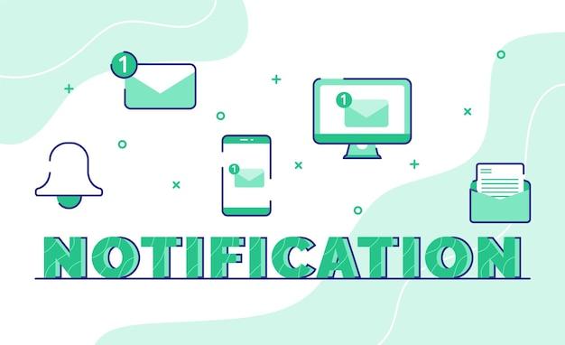 Уведомление типографии слово искусство фон значок колокол сообщение электронной почты смартфон компьютер со стилем контура Premium векторы