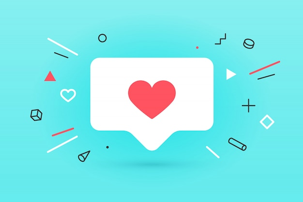 Notifications icon like, speech bubble. like icon with heart, one like and shadow for social network on red background. speech bubble, poster and sticker concept for , web.  illustration Premium Vector