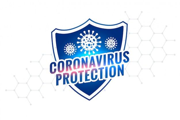 Novel coronavirus covid-19 protection shield symbol design Free Vector