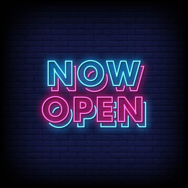 Now open neon signs style text vector Premium Vector