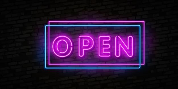 Now open neon text Premium Vector