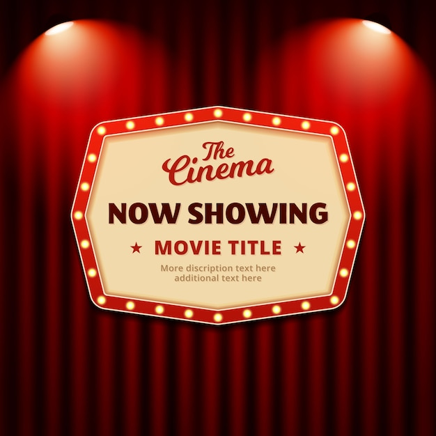 Now Showing Movie In Cinema Poster Design Retro Billboard Sign With Spotlights And Theater Curtain Background Premium Vector