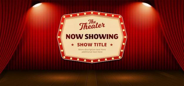 Now showing retro classic sign board with text template. red theater stage curtain backdrop Premium Vector