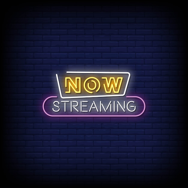 Now streaming neon signs style text Premium Vector