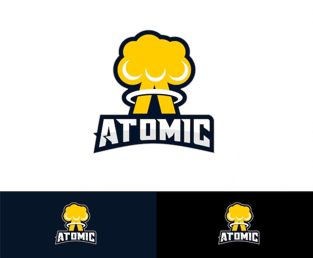 Nuclear atom bomb logo Premium Vector