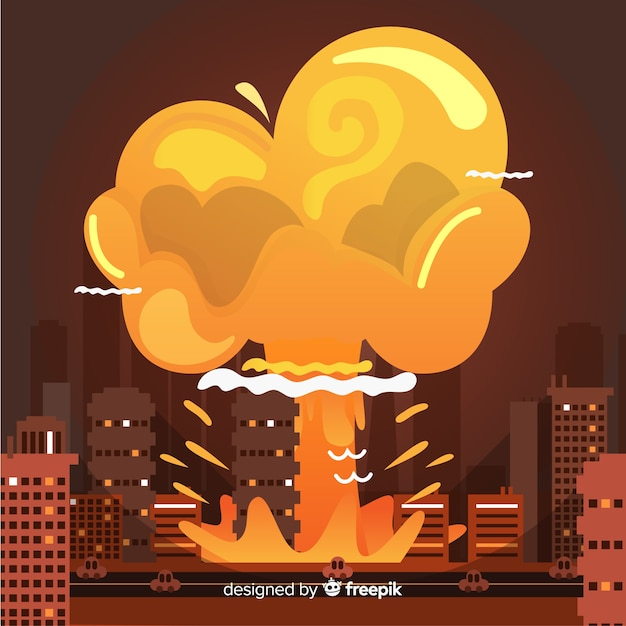 Nuclear bomb in city cartoon style Free Vector
