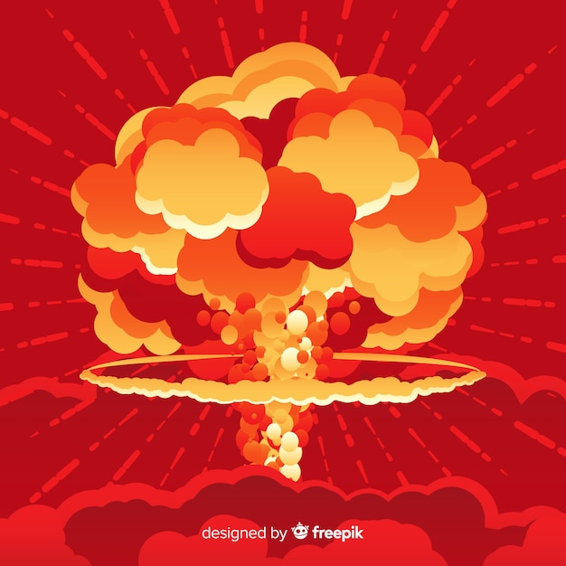Nuclear bomb effect flat style Free Vector