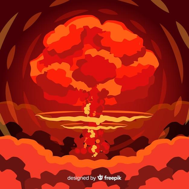 Эффект ядерной бомбы плоский стиль Бесплатные векторы