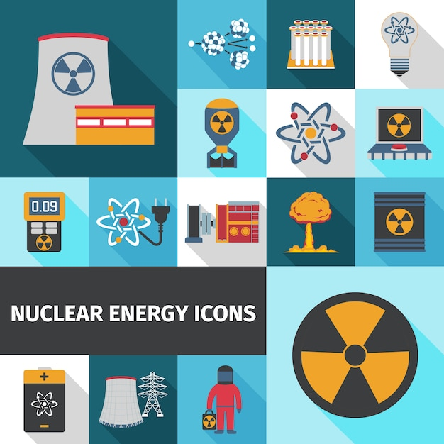 Nuclear energy icons set flat Free Vector