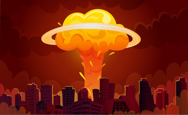 Nuclear explosion city cartoon poster Free Vector