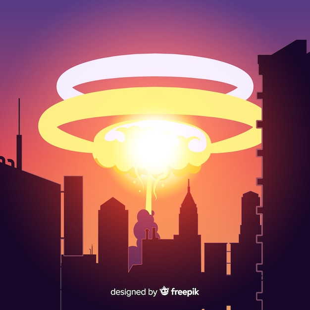 Nuclear explosion in a city cartoon style Free Vector