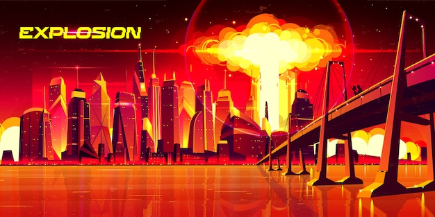 Nuclear explosion in city metropolis. couple stand on bridge watching on fiery mushroom cloud of atomic bomb detonation raising under skyscrapers buildings, end of world. cartoon illustration Free Vector