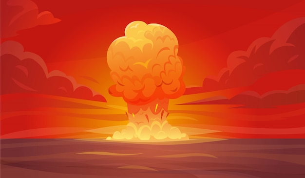 Nuclear explosion composition Free Vector
