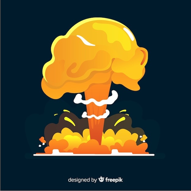 Nuclear explosion effect cartoon style Free Vector