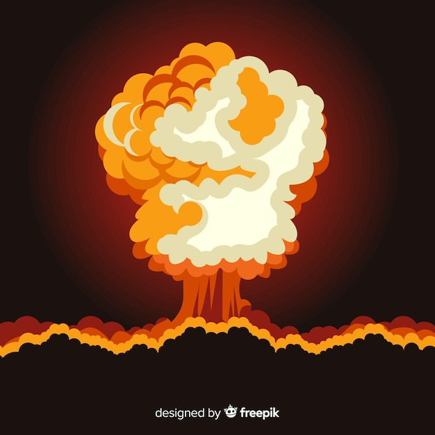 Nuclear explosion effect flat design Free Vector