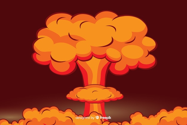Nuclear explosion illustration cartoon style Free Vector