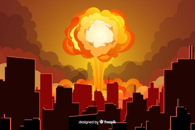 都市漫画風の核爆発 Premiumベクター