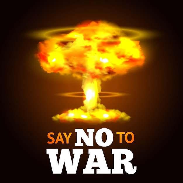 Nuclear explosion poster Free Vector