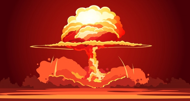 Nuclear explosion rising orange fireball of atomic mushroom cloud in desert weapon Free Vector
