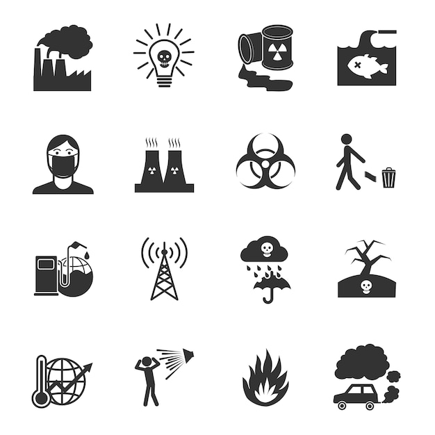 Nuclear plant icons collection Free Vector