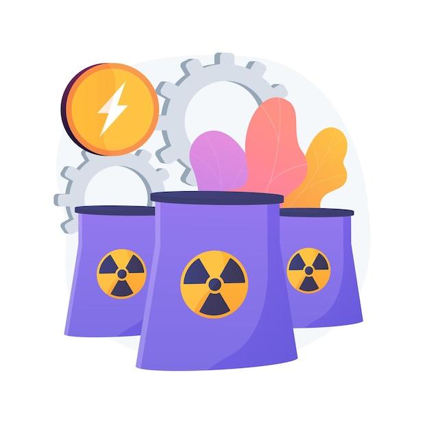 Centrale nucleare, reattori atomici, produzione di energia. fissione dell'atomo, processo atomico. metafora della generazione di cariche elettriche nucleari. Vettore gratuito