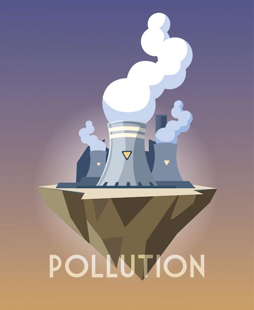 Nuclear reactor over terrain, environmental pollution Premium Vector