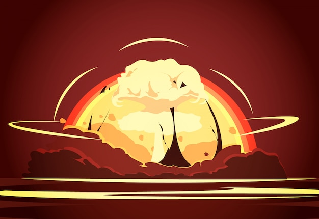 Nuclear weapon desert test retro cartoon poster with rising radioactive Free Vector