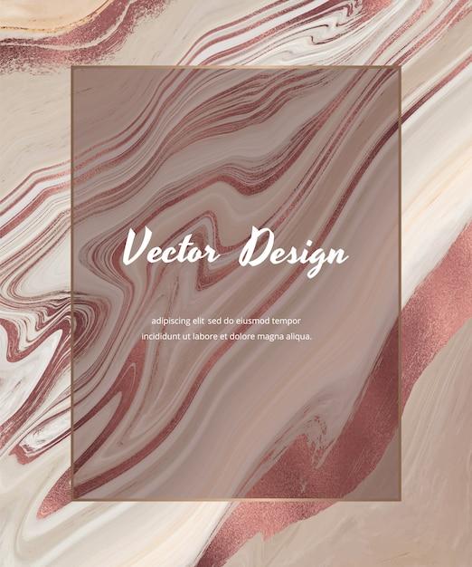 기하학적 인 흰색 대리석 프레임이있는 로즈 골드 호일 액체 잉크 디자인 카드가있는 누드. 프리미엄 벡터